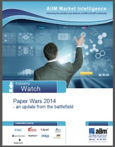 Cover of AIIM's 2014 Paper Wars report