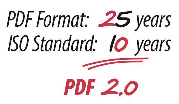 PDF format: 25 years. ISO Standard: 10 years = PDF 2.0.
