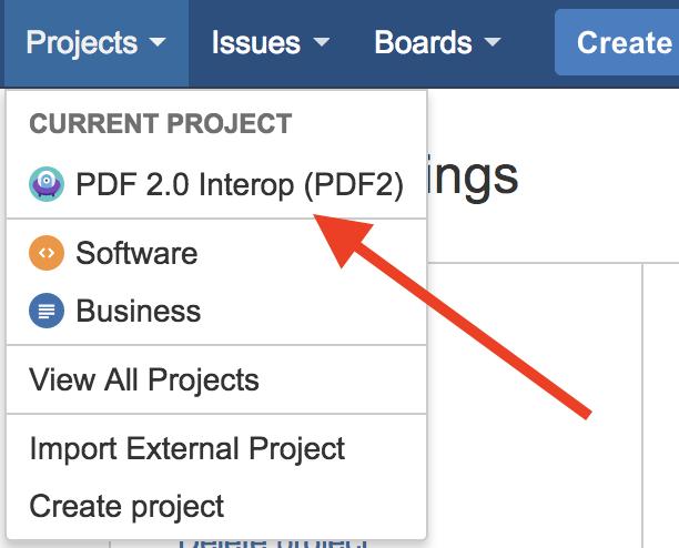 Jira project selection screenshot.